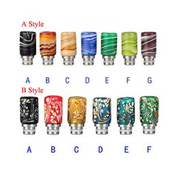 Wholesale Mechanical Drawings - Rich Colors Colored Drawing Style Drip Tip Glass Wide Bore Drip Tips for EGO RDA DCT Protank Atomizer KGO EGO ONE Mechanical Mod
