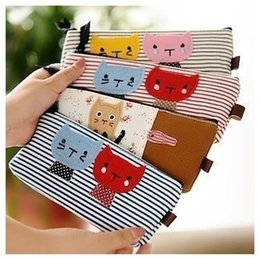 Wholesale Kitty Cat Pencil Bag - Wholesale-Cute Kitty Cat Pattern Strip Pencil Case Make Up Tool Bag CY016