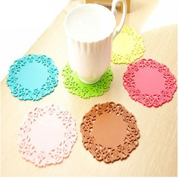 Wholesale Silicone Lace Mats - Practical Cut Round Lace Flower Hollow Silicone Coaster,Coffee Cup Mat,Table Heat Resistant Cushion Placemat Pad