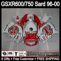 Wholesale Suzuki 99 - 8Gift Fairing For SUZUKI GSXR600 GSXR750 SRAD 96-00 GSXR 600 750 MY3 GSX R600 R750 96 97 98 99 00 Lucky Strike 1996 1997 1998 1999 2000 Body