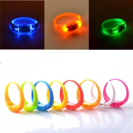 Wholesale Sound Music Activated - Music Activated Sound Control Led Flashing Bracelet Light Up Bangle Wristband Club Party Bar Cheer Luminous Hand Ring Glow Stick OTH662