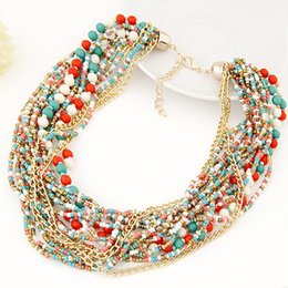 Wholesale Multilayer Statement - Fashion Vintage Beads Chain Ocean Style Beads Choker Necklace Multilayer beaded choker necklace Statement jewelry for women 2015