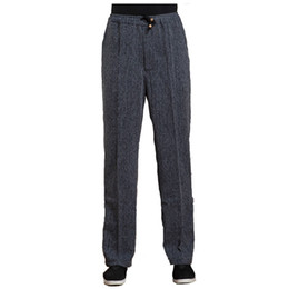 Wholesale Tai Chi Cotton Pants - Wholesale- Dark Gray Spring Sutumn Men's Long Kung Fu Pant Cotton Linen Wu Shu Tai Chi Elastic Waist Trousers M L XL XXL XXXL WNS031812