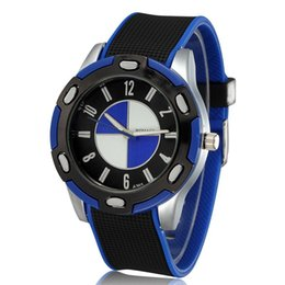 Wholesale Clock Boy - fashion Casual men Sports watches brand name silicone black band car Logo design top quality male clock boys Wrist watch blue free shipping