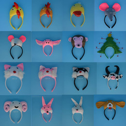 Wholesale Mouse Dog Costume - 3D Animal Mouse Pig Monkey Ear Headband Halloween Party Pig Giraffe Tiger Dog Monkey Headbands