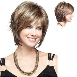Wholesale Yellow Lace Wig - Hot health yellow mix brown Short Straight Synthetic Hair short human hair full lace front wigs Full Women's Wig