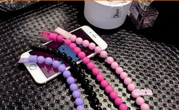 Wholesale Multicolor Micro Cable - Wearable Bracelet Multicolor Micro USB Cable 1ft 24cm Charger Bead Sync Data Extra Charging Line Adapter colorful High Speed For Smartphone
