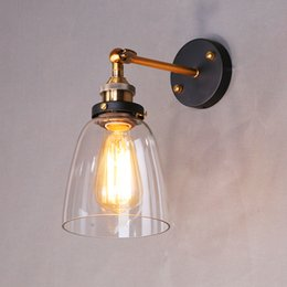 Wholesale Antique Industrial Light Fixtures - Wholesale-Loft American Style Antique Vintage Industrial E27 110V 220V Edison Wall lamps Clear Glass Bedside Wall Lights Fixtures Lighting