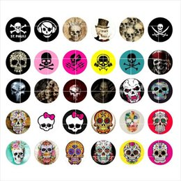 Wholesale Wholesale Green Jewelry - newest Skull snap button jewelry charm popper for bracelet 30pcs   lot GL035 noosa,jewelry making supplier