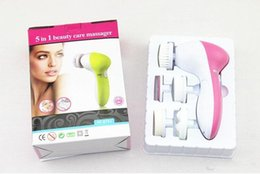 Wholesale Multifunction Face Massager - 5 in 1 Multifunction Electrical Facial Cleansing Brush Spa Operated Kit face care massager 100PCS LOT