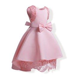 Grossiste Bébé Fille Robes D'été Rose Dentelle Crochet Dress 2018 Enfants Vêtements Filles Dress High Low Dress Enfants Coton Doublure Vêtements ? partir de fabricateur