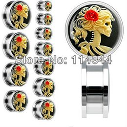 Wholesale Screw Fit Tunnel Ear Plug - 316L Steel Red Rose Skeleton Cameo Screw Fit ear tiunnel plug piercing jewelry flesh tunnel gauges