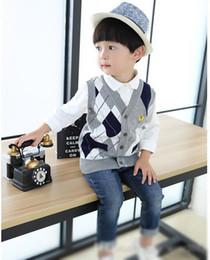 Wholesale Korean Style For Autumn - best-selling Autumn Korean Style Boys Cool Vest Diamond Lattice Cardigan Vest For Kids Sleeveless V-Neck Sweater For Chilldren Two Colours