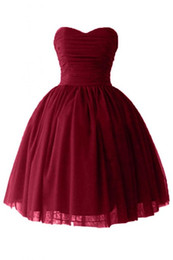 Wholesale Sweetheart Mini Puffy - Cheap Short Puffy Homecoming Prom Dresses 2016 under 100 Victoria Burgundy Ball Gown Sweetheart Cocktail Party Gowns with Lace up