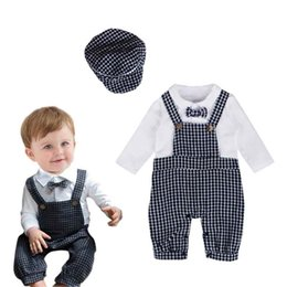 Wholesale Baby Boy Plaid Overalls - Fall Long Sleeve Baby Boy Bodysuit Plaid Overall Design Kids Jumpsuit Fashion Outfit with Hat 2pcs England Style Boys Clothes