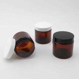 plastic screw bottle 2018 - 20 x 200ML Amber Empty PET Jars with Black White Plastic Screw Lids, 200g cream bottle