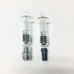 Wholesale Oil Measurement - 100% Original 1ml Luer Luer Head Glass Syringe with Measurement Mark 1cc Injector Vaporizer Cartridge thick oil Tank