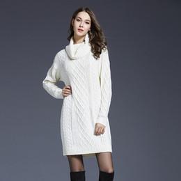 Wholesale white sweater dress turtleneck - Wholesale- Winter Sweater Jumper Women Long Sleeved Turtleneck Pullovers Wool Sweater Dress White Navy blue Autumn Knitted Sweater Dresses