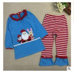 Wholesale Winter Pajama Baby - Christmas Pajama Set Boys Girls Clothes Kids Clothing Long Sleeve Tops Stripe Pant Nightwear Toddler Baby DHL Free Shipping