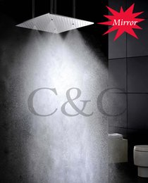 Wholesale Rain Mirror - 20 Inch Ceiling Mounted Mirror Polished Atomizing And Rain Bathroom Shower Head With Arms L-20WMI
