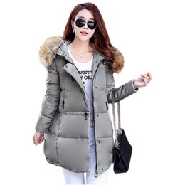 Wholesale Thick Pink Hoodie - New Arrival 2015 Winter Womens Jacket Long Parka Down Cotton Outerwear Hoodies Fur Collar Thick Winter Warm Overcoat Plus Size