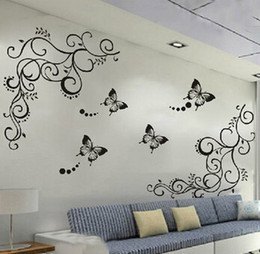 Wholesale Lowered Sticker - 3D lowest price calssic black butterfly flower Wall sticker home decor poster flora butterflies TV wall beautiful decoration