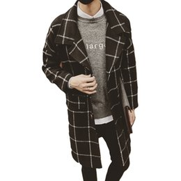 Wholesale Men Spring Cool Wear - Fall-2016 New Arrival Plaid Design Fashion Overcoat Gentle Style Vestido Winter Spring Blouse Stylish Cool Men's Wear Size M-XXL
