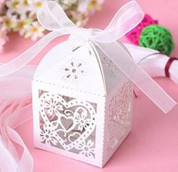 Wholesale Silver Wedding Bomboniere - 100pcs Heart Laser Cut Wedding Bomboniere Chocolate Candy Gift Box with Ribbon