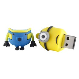 Wholesale Despicable Usb Flash Drive - 100pcs DHL epacket ship 64GB 128GB 256GB novelty cartoon Minions Despicable Me 2 USB 2.0 Flash Drive Memory Stick pendrive from goodmemory