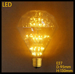 Wholesale Decorative Glass Diamonds - 110-120v or 220-240v G95 2300K LED 3W Diamond E27 Edison Tree Light Bulb clear glass LED decorative filament bulbs bar shop home