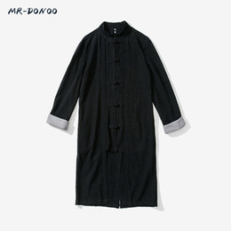 Wholesale Antique Linens - Wholesale- MRDONOO Yong men's Tang Chinese tunic suit large Han clothing antique Chinese style linen long sleeve middle-long windbreaker