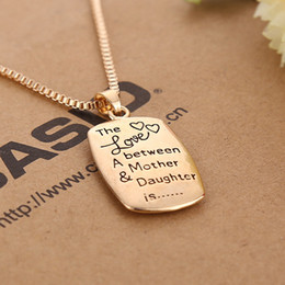Wholesale gold jewelrys - High Quality ! 20pcs lot (Gold,Silver) The Love between A Mother & Daughter is Pendant Necklace Fashion Jewelrys