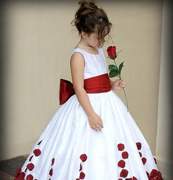 Wholesale Girls Rose Pageant Dresses - Red And White Bow Knot Rose Satin Ball Gown Wedding Flower Girl Dresses Crew Neckline Little Girl Party Pageant Gowns 2015 New kids gowns
