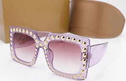Wholesale Pc Specials - Luxury Brand Sunglasses 0145S Large Frame Elegant Special Designer with Rivets Frame Built-In Circular Lens Top Quality Come guc