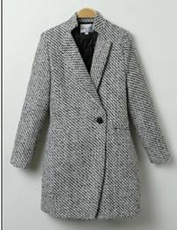 Wholesale Korea Slim Women Coat - Cheapest Price!! 2016 Korea Style Women's Windbreaker Long Woolen Jacket Winter Coat Slim Overcoat Free Shipping