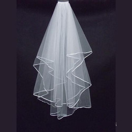 Wholesale Simple Ivory Veils - Simple cheap white Wedding Veil Satin edge Two layer 2015 wedding accessory bridal veil free shipping TK01