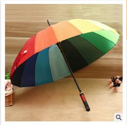 Wholesale Rainbow Umbrella Golf - Rainbow Umbrella 2015 High Quality 16K Golf Umbrella Automatic Long-handle Umbrella Sunny Rainy Pongee Rainbow Adult Color Umbrella m000722