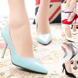 Wholesale Womens Sexy White Heels - Wholesale-Fashion 2015 Womens High Heels Patent Leather Womens Pumps Slip On Pointed Toe Sexy leadies Shoes Party Shoes Wholesales