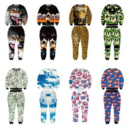 Wholesale Leopard Men Hoodie - Wholesale-EACA New Fashion Men Women Joggers And Hoodies Suit 3D Print Wolf Galaxy Lips Leopard Camouflage Clothes Harajuku tracksuits