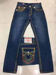 Wholesale Rock Studs - Free Shipping 2017 New True Elastic jeans Mens Robin Rock Revival Jeans Crystal Studs Denim Pants Designer Trousers Men's size 30-40 boy