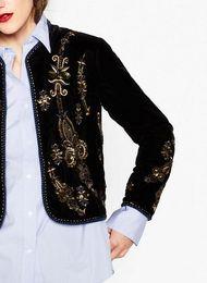 2020 jaquetas bordadas das mulheres Atacado - 2017 Novo Womens Vintage Black Short Rodada Neck Velvet Jacket - Golden bordado na frente e mangas Jacket desconto jaquetas bordadas das mulheres