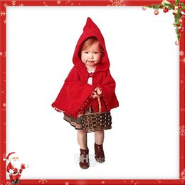 Wholesale Girls Red Coats Winter - Girls Red Cloak Jacket Poncho Winter Coat Party Dress