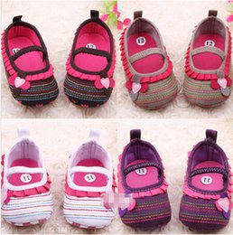 Wholesale Cute Soles - style available ! Cotton Cloth Four-Flower Baby Shoes Striped Sole Shoes for Kids Cute Toddler Shoes 6pairs 12pcs Drop Shipping
