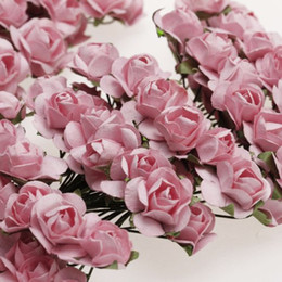 Wholesale Wedding Mini Paper Roses - Wholesale- PHFU Approx. 144pcs Mini Paper Rose Flower for Craft Wedding Favor
