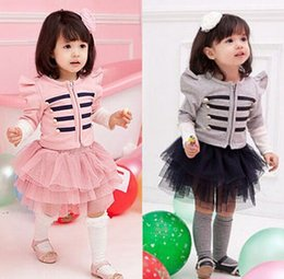 Wholesale Coats Skirts - PrettyBaby baby girl long sleeve jacket coat tutu skirt 2pcs children clothing set girls outfits kids spring clothes suits free shipping