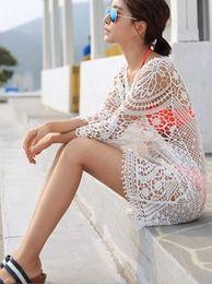 Wholesale Womens White Suit Shorts - New 2015 Fashion Summer Womens Lace Crochet Hollow Beach Dress Short Sleeve Tops Bikini Cover Up Beach Wear Bathing Suit Cover ups Women