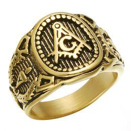 2019 jóias anéis maçônicos para homens 2017 Aço Inoxidável Mens Anéis Maçônicos de aço Titanium do vintage Hip Hop Anéis dos homens Para O Punk masculino Presente Da Jóia jóias anéis maçônicos para homens barato