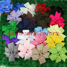 Wholesale Solid Grosgrain Ribbon Mixed - 15% off new arrival 5inch Big Hair Bows Girl Baby Alligator Clip Grosgrain Ribbon Mixed color hair accessories 60pcs christmas gift