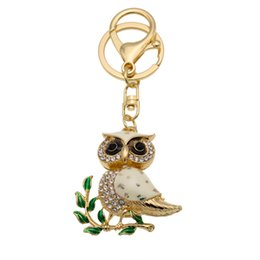 Wholesale Trees Keychain - Creative Tree Branches Owl Rhinestone Keychain Car Accessories Key Holder Women Bag Pendant Small Gifts Free DHL D318Q