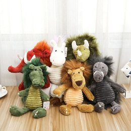 Wholesale plush lion stuffed animal - Cute Long Hair Animal Plush Toys 38cm Unicorn Elephant Lion Dragon Rhino Stuffed Plush Dolls LJJO3747